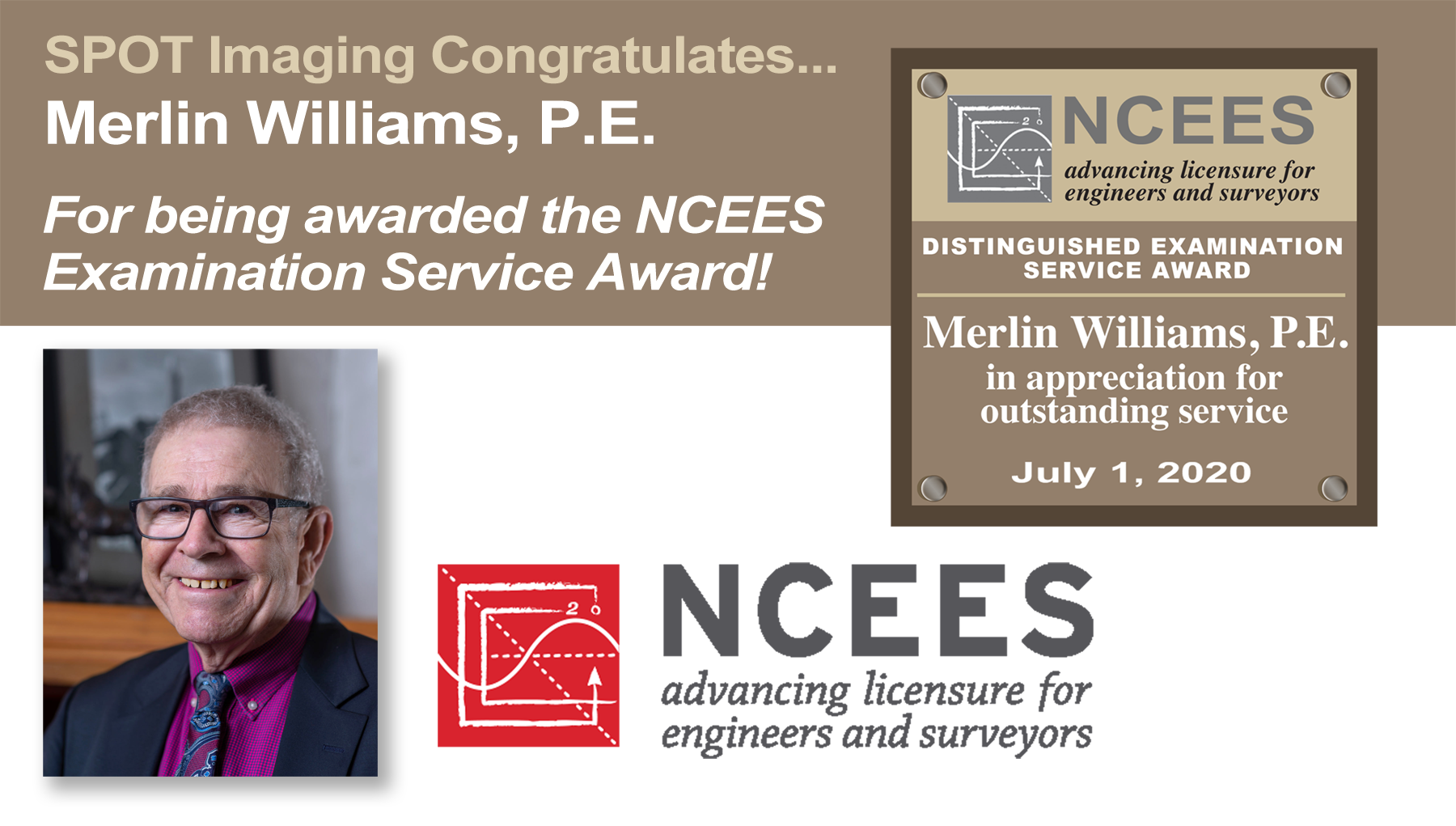 Congratulations to Merlin Williams, P.E. on receiving the NCEES Service Award!